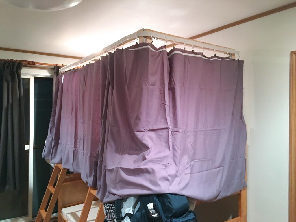 二段ベッドの上段にカーテンをつける